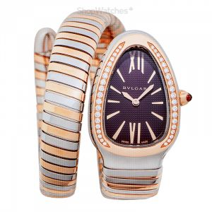 Serpenti Quartz Violet Dial Diamond Bezel Ladies Watch
