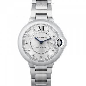 Ballon Bleu de Cartier 33 mm Automatic Silver Dial Stainless Steel Ladies Watch