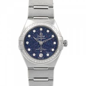 Constellation Co-Axial Master Chronometer 29mm Automatic Blue Dial Diamond Bezel and Diamond Index Ladies Watch