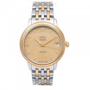 De Ville Prestige Co-Axial 32.7 mm Automatic Champagne Dial Yellow Gold Ladies Watch