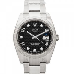 Oyster Perpetual Date 34 Automatic Black Dial Diamond Men's Watch
